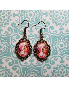 vintage oorbel pop roze