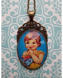 vintage meisje blauw