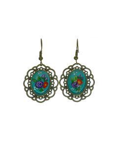 oorbellen bloemen blauw