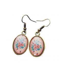 Hang oorbellen pastel bloemen