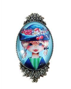 broche meisje blauw